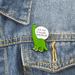Wholesale shirt indian online – design Lonely dinosaur enamel pin Cartoon animal badge brooch Green Lapel pin for Denim Jeans shirt bag Funny jewelry Gift for friend