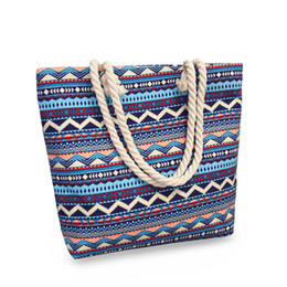 striped canvas tote bags wholesale UK - Canvas stripe Floral print Tote Beach Bags Large Capacity Wave pattern Handbags Reusable Shopping Bag Travel Maternity bag Diaper Bags C5291