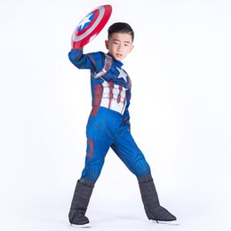 Wholesale Boys Halloween Captain America muscle style Cosplay suits New Kids Avengers Superhero costume cosplay clothes mask sets B