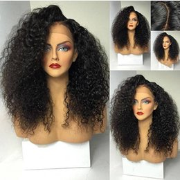 Discount blonde african lace front wig - Hot Selling Side Part Afro Black Wig Kinky Curly Synthetic Lace Front Wigs With Baby Hair Heat Resistant Hair For Africa