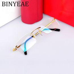 Опт BINYEAE высокое качество мужчины чистые титановые очки ультра легкие бескаркасные очки для мужчин по рецепту кадров