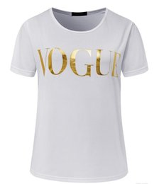 best wholesale t shirts Australia - Free shipping Fashion Golden VOGUE T-Shirts for women Hot Letter Print t shirt short sleeve tops plus size female tees best quality