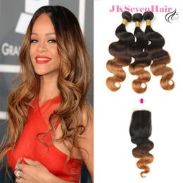 $enCountryForm.capitalKeyWord NZ - Ombre 1B 4 27 Body Wave Virgin Brazilian Hair Extensions 3PCS With Closure Dark Root Brown Blonde Malaysian Human Hair Wefts