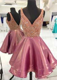 Discount pictures 8th grade dresses - Deep V Neck Short Prom Dresses Zipper Up Low Back Formal Party Gowns Beaded Rhinestones 8th Grade Homecoming Dresses For