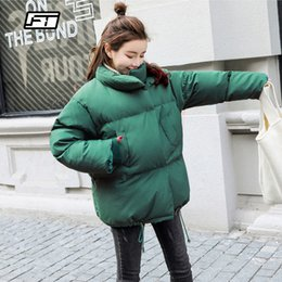 Green Down Parkas NZ - Fitaylor Winter Warm Women Down Jacket Coat Loose White Duck Down Parkas Short Outwear Female Casual Stand Collar Green Overcoat