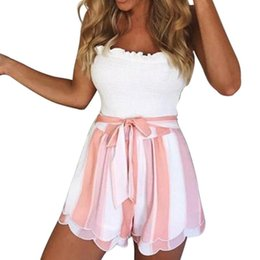 $enCountryForm.capitalKeyWord Canada - Pink White Striped Shorts Women Fashion 2018 Summer High Waist Frill Shorts Streetwear Bow Tie Streetwear Chiffon Bottoms