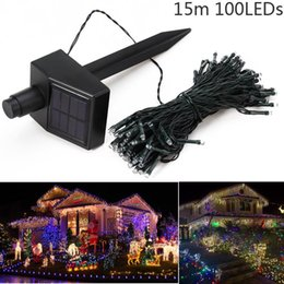 Wholesale Hot 15M 100 LEDs Solar Power Fairy Lights Holiday Lighting Xmas Holiday Party Outdoor Garden Tree Decoration String Lamp