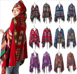 cardigan scarf fashion 2019 - 180*80CM Retro Bohemian Geometric Shawl Scarf Poncho Tribal Fringed Coat Hoodies Jacket striped Cardigans blankets Cape