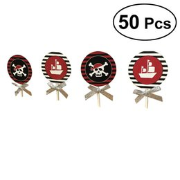 $enCountryForm.capitalKeyWord NZ - 50 Pcs Disposable Cupcake Toppers Halloween Themed Party Favors for Kids Birthday Cake Decoration(Pirate Skull and Boat)