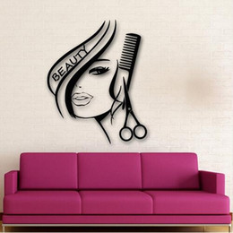 wall stickers sexy girls UK - Free shipping Sexy Girl Wall Stickers fashion Hair Beauty Salon Barbershop Sexy Girl Advertising Wall paper