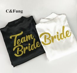 C Fung design BRIDE TEAM BRIDE Robe glitter gold letters bridal shower to  be bachelorette bridesmaid bridal party robes b7bf46a14dfa