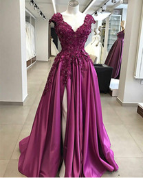 crystal cap sleeve pageant dresses Australia - Purple Side Slit Prom Dresses 2020 New V neck Cap Short Sleeves lace Applique Beaded Sequins Satin Aline Evening Formal pageant Dress