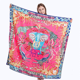 $enCountryForm.capitalKeyWord Canada - New Twill Silk Scarf Women Animal kingdom Print Square Scarves Fashion Wrap Female Foulard Large Hijab Shawl Neckerchief 130*130CM