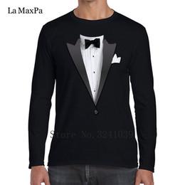 Venta al por mayor de Diseño chaqueta de esmoquin traje camisetas para hombres Hombres humorísticos camiseta Anti-Arrugas manga larga S-3xl Unisex camiseta de los hombres