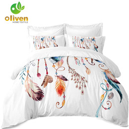 Colorful Printed Bedding NZ - 100% Polyester Bedding Set Colorful Dreamcatcher Duvet Cover Feather Print Twin Full King Queen Bed Cover Pillowcase 3Pcs D35