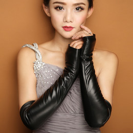 $enCountryForm.capitalKeyWord Australia - 43cm long design genuine leather gloves winter women gloves sheepskin female semi-finger arm sleeve lg004