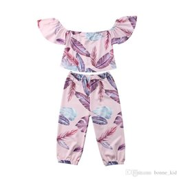 $enCountryForm.capitalKeyWord NZ - Boho kid girls clothes feather pink off-shoulder tops+pants 2pcs set outfits kids baby casual clothing girls summer boutique costume