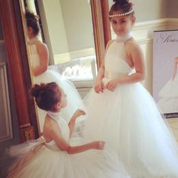 White Tutus For Girls Australia - Back Ribbon Girls Birthday Saudi Arabia White Flower Girl Dresses Gowns Halter Tutu Backless Flower Girl Dress For Wedding