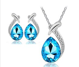 $enCountryForm.capitalKeyWord NZ - Austrian crystal necklace water drop earrings necklace Set New Arrival Fashion jewelry Chain Earring Set 6 colors