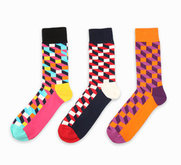 Wholesale happy socks for sale - Group buy HOT new design high quality cotton autumn winter creative colorful square geometric brand casual men long happy socks