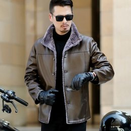 $enCountryForm.capitalKeyWord NZ - Super Soft SE Plush Wide-Waisted Imported Leather Black Handsome Winter Coat for Outdoorwear and Winter Protection