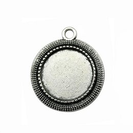 Bezel Pendant Trays Australia - 12 Pieces Cabochon Cameo Base Tray Bezel Blank Hand Made Jewelry Making Simple Single Side Inner Size 20mm Round Necklace Pendant Setting