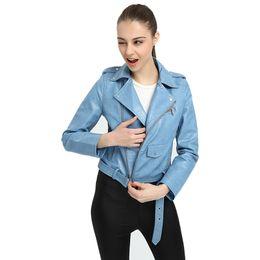 $enCountryForm.capitalKeyWord UK - Hot Sale Faux Leather Jacket Women Pink Punk Fashion Biker Coat Slim PU Leather Jacket Soft Short Faux Motorcycle Female