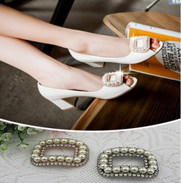 Clip Charms Free Shipping Australia - Free shipping (6 PCS lot) Diamond Pearl Gold Silver Square Buckle Shoes Clip DIY Craft Shoe Buckle Hardware Metal Buckle