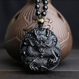 $enCountryForm.capitalKeyWord NZ - Natural obsidian pendant dragon brand Zodiac dragon Patron saint transshipment bixie pendant necklace for women and men