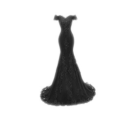 China 2019 New Arrived Long Black Lace Mermaid Evening Dresses off shoulder Sleevesless Formal Part Dresses supplier reference parts suppliers