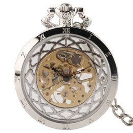 unique watches Australia - Classic Men Roman Numerals Mechanical Hand Winding Pocket Watch Unique Round Dial Classic Man Vintage Chain Pendant for Fashion