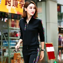 Wholesale Ladies Petite Sweat Suits Colors Stand Collar Jacket Women Track Pants Two Piece Sports Outfits Fashion Tracksuits Women Fall Clothes