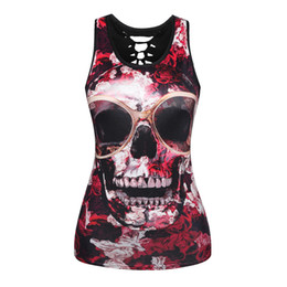 out digital 2018 - 2XL Plus Size Women Summer Tank Tops Halloween Ghost Skull Digital Printing Top Sexy Back Hollow Cotton Sleeveless Vest