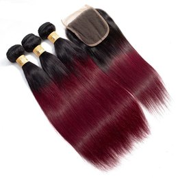 burgundy ombre human hair extensions 2019 - Brazilian Ombre 1B 99J Straight Virgin Hair 3 Bundles With Lace Closure Burgundy Hair Extensions 1B 99j Straight Human H
