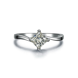 Lovely Ring Diamond NZ - Lovely 1CT Princess Cut Synthetic Diamond Engagement Wedding Rings for Women Twist Setting Sterling Silver Jewelry Platinum Plated Ring Gift