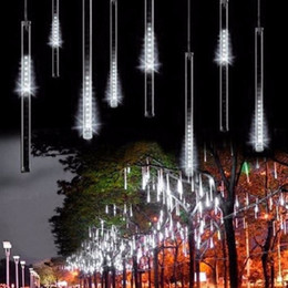 12v Showers Australia - Waterproof 20cm 8 Tubes Holiday Meteor Shower Rain LED String Lights For Indoor Outdoor Gardens Xmas Tree Christimas Party Decor