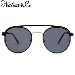 Designer Clip Sunglasses NZ - Natuwe&Co Designer Magnetic Lens Clip On Sunglasses Men Polarized Women Retro Round Metal Glasses 3042