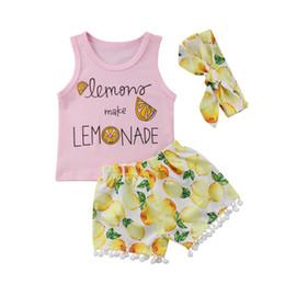 5cc6f2bdea54a 3 Unids / set Recién Nacido Infantil Bebé Niño Niña Limón Trajes de Verano  Tops Borla Corta Cazos Ropa
