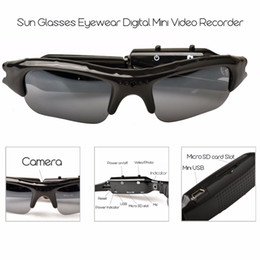Venta al por mayor de HD Mini gafas de sol gafas cámara portátil video audio mini cámara del deporte de DV DVR Videocámara ocultada de la bicicleta del patín cámaras graban