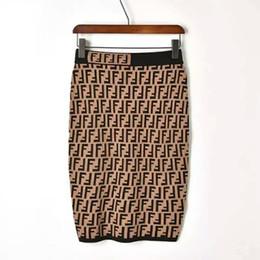 82c660609e5 Новый дизайн женская высокая эластичная талия bodycon туника трикотажные  двойной F Письмо печати колен юбка-карандаш SMLXL