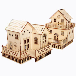 China Wonderful Gifts 3D Toy House Doll Gothic Villa Educational Wooden Miniature Construction Kids Toys Wood Crafts Home Decor suppliers