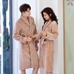 long warm robes Australia - Lovers winter robe for Men and Women Warm Soft Flannel Coral Fleece Long Bath Robe Mens Kimono Bathrobe Male Dressing Gown Robes
