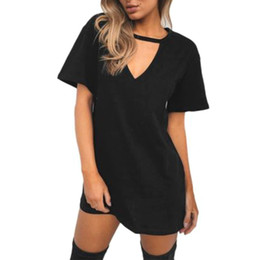 Chinese  Women Choker V Neck Long Top T-shirt Ladies Casual Party Loose Mini Dress Blouses RF1159 manufacturers
