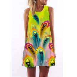 6a98ea47520f3 Female Peacock Feathers UK - Women jumper dress Female peacock feather  Digital Printing dress Girl Summer