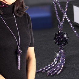 $enCountryForm.capitalKeyWord Australia - Heeda Korean Crystal Long Necklace Women Fashion Sweater Chain 2018 New Kpop Bead Tassel Layered Bijoux Shiny Party Jewelry Lady