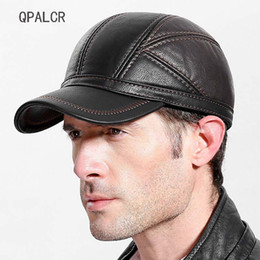 cb1ddf2ac58 QPALCR 2018 Winter Mens Baseball Caps Patchwork Leather Hats Russia  Adjustable Snapback Flat Cap Warm Middle Aged Dad Hat