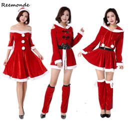 Women Velvet Clothes Australia - Christmas Santa Claus Cosplay Costumes Cashmere Velvet Dresses Hats Belt Set Uniform Adults Women Girls Halloween Party Clothes