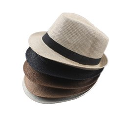 Grey straw fedora hats men online shopping - Vogue Men Women Cotton Linen Straw  Hats Soft 9a331112e6