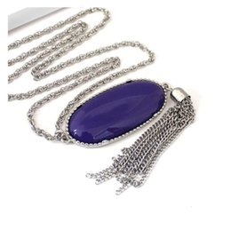 Chinese  Fashion Bohemian Natural Stone Oval Abalone Druzy Pendant Long Tassel Statement Necklaces Ornament Charm Sweater Chain Jewelry 74cm H219F manufacturers