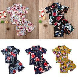 d4824f829f39 2pcs Toddler Infant Kid Baby Boys 2018 T-shirt Tops+Pants Summer Floral  Outfits Beach Clothes Set